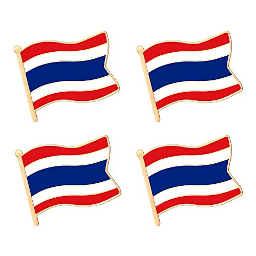 ALEY Thailand Thai Kingdom of Thailand Flag Lapel Pin Decorations (4 Pack)