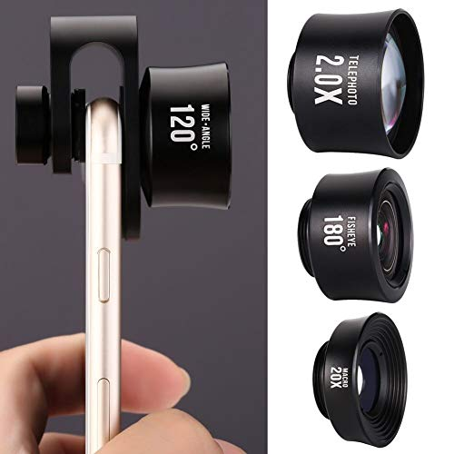 iPhone Lens, Phone Camera Lens Kit - 2.0X Zoom Telephoto Lens, 20X Macro Lens, 120°Wide Angle Lens, 180°Fisheye Lens, 4 in 1 Clip On Cell Phone Camera Lens for iPhone X/8/7/6/5 & Samsung & Smartphon