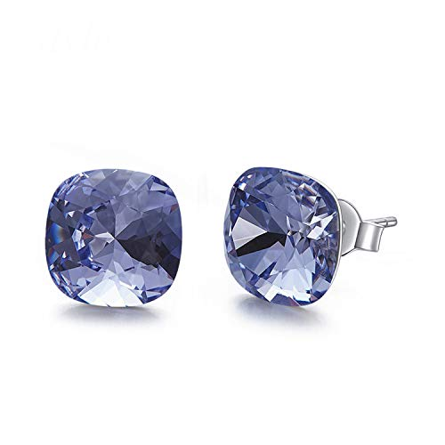 - Square Embellished with crystals from Swarovski Earrings For Women's Gift Tiny Simple Jewelry