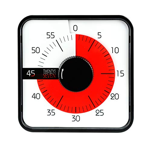 Countdown Timer 7.5 inch; 60 Minute 1 hour Visual Timer - Classroom Teaching Tool Office Meeting, Mechanical Countdown Clock for Kids Exam Time Management Megnetic Black