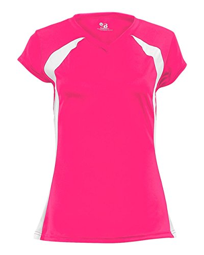 Ladies Hot Pink/White Two-Color 2X Performance Sports Wicking Jersey