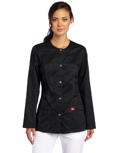 Dickies Scrubs Women's Gen Flex Junior Fit Contrast Warm Up, Black, X-Small