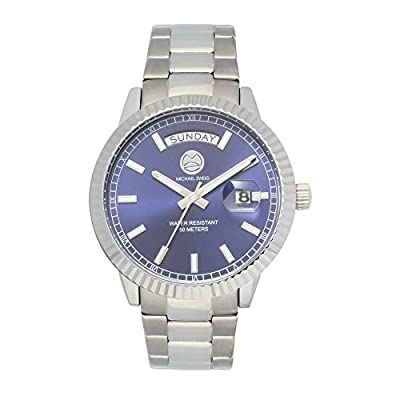 Michael Zweig Mid Size, Day Date feature Mens Watch, Fluted Bezel luxury Steel band