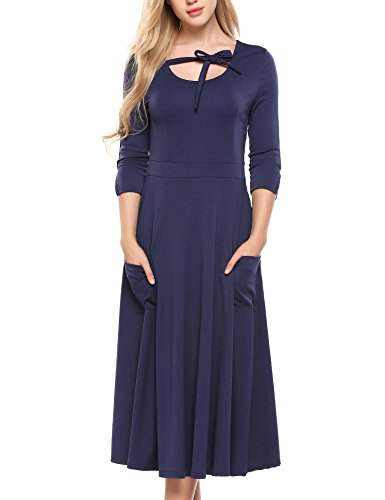 3 Casual 4 Pockets Midi Blue Flare ACEVOG Navy Sleeve Women's Swing Loose Long Dress C0qwEw5axn