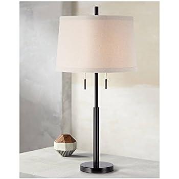 Modern Table Lamp Dark Bronze Metal Column Off White