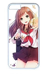 Anime Girl In Autumn Cute Hard Cover For iPhone 6 Plus Case ( 5.5 inch ) PC White Cases