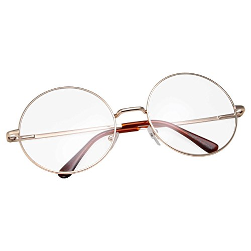 grinderPUNCH - Non-Prescription Round Circle Frame Clear Lens Glasses Medium - Glasses Clear Hipster