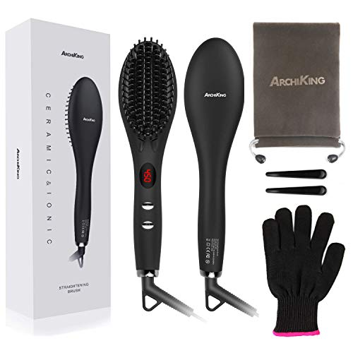 Hair Straightening Brush 2.0, ARCHIKING Ceramic Ionic Hair Straightener Brush with Double Anion Anti-scald Fast Heating Electric Auto Shut Off Dual-Voltage Perfect for Travel