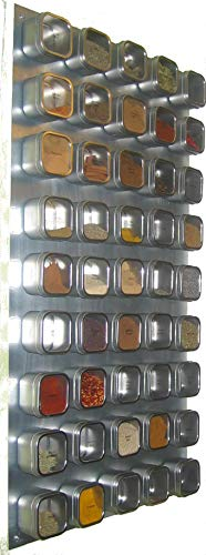 Culinarian II Magnetic Spice Rack - 48 Bravada Square Clear Lid Magnetic Spice Tins, Brushed Stainless Steel Versa-Board Wall Base, 149 Spice Labels