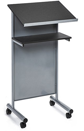 Wheeled Lectern with Storage Shelf - Silver/Black - Compact Standing Desk for Reading - Laptop Stand