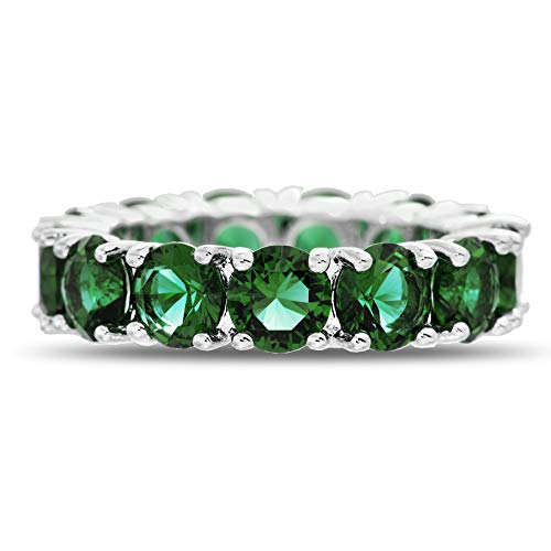 Mio Ring - Mia Sarine Round Simulated Emerald Eternity Band for Women in Rhodium Plated Brass (Size 7)