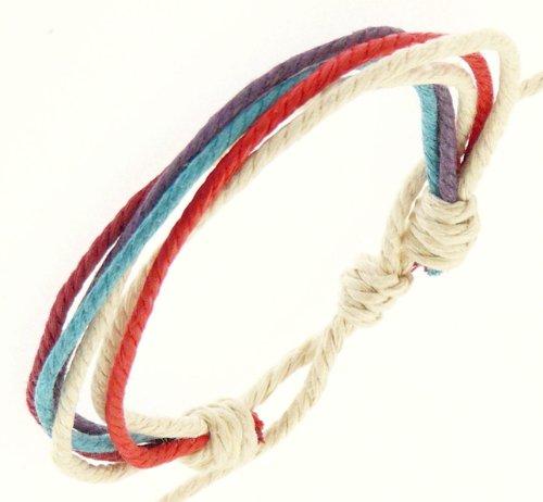 Mens Surf Surfer Style Multi Coloured Cord Wristband Bracelet - 72