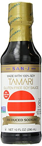 San-J Tamari Gluten Free Soy Sauce, Reduced Sodium, 10 Fl. Oz. Bottle (2 Pack)