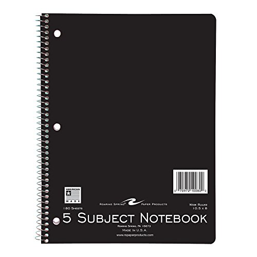 (Roaring Spring Wirebound Notebook, Five Subject, 10.5