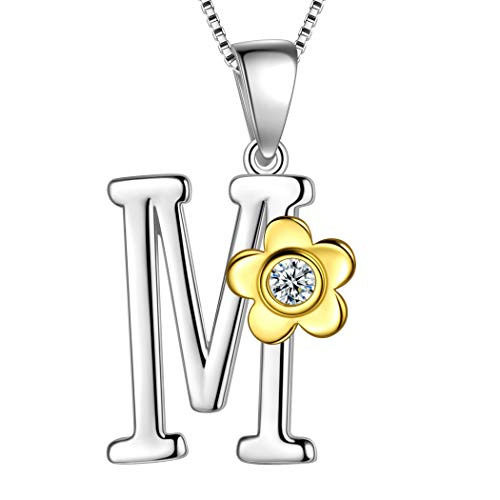 Aurora Tears Initial Letter M 925 Sterling Silver Daisy Flower Necklace 18k Gold Plated Charm Pendant Two-Tone Gold Plated Jewelry DP0141M ()