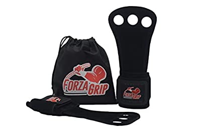 Gymnastic Grips in Leather - Cross Training Fit Gloves - Workout by FORZA GRIP - 3 Hole Wrist Wrap and Palm Protection for Men and Women - Weight Lifting and WOD - Free Carrying Bag
