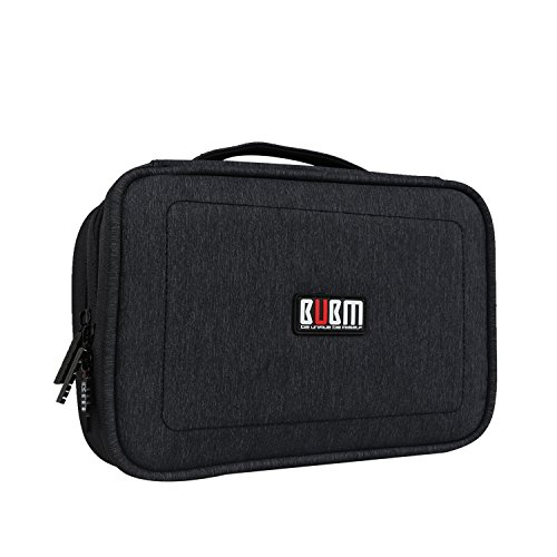 BUBM Electronic Organizer, Double Layer Travel Gadget Carry Bag for Cables, Plugs, Earphone, Flash Hard Drive and More--a Sleeve Pouch for iPad Mini(Medium, Black)