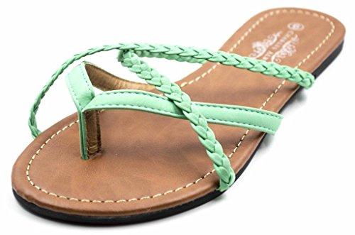 Charles Albert Women's Selene Strap Multi Sandal in Mint Braided Size: - Skinny Retro Porn