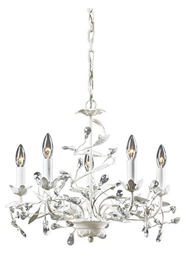 Antique White 5 Light Chandelier from the Circeo Collection (Circeo Collection)