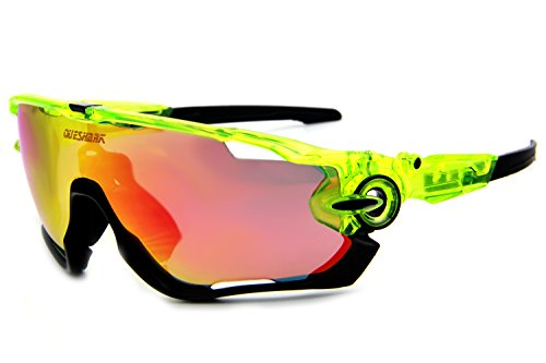 Queshark TR90 Frame Polarized Cycling Sunglasses For Men Women Sports 3 Lens (Clear Green Black, 3 - Cycling Mens Glasses