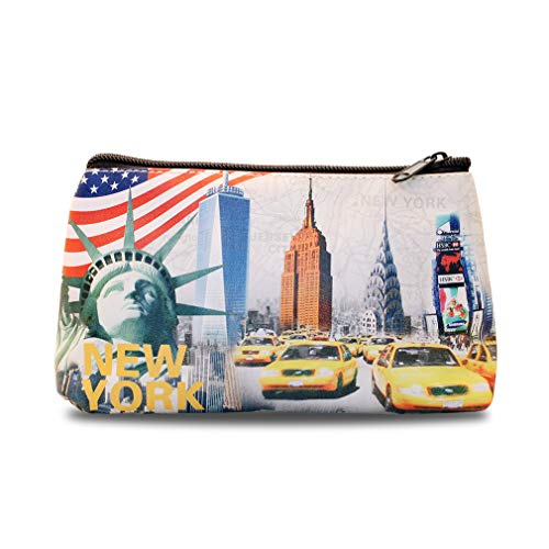 New York City NY Times Square, Empire State, Chrysler Building, Brooklyn Bridge, NYC Souvenir Print Mini Purse, Pencil Case, Makeup Cosmetic Bag (Small)