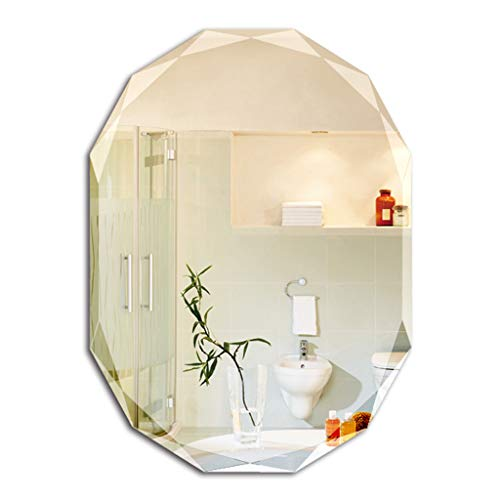 MMLI-Mirrors Bathroom Mirror Multi-Edge Frameless Crystal Diamond Beveled Wall Mounted Vanity Dressing - Beveled Plane Mirrors Edge Bathroom