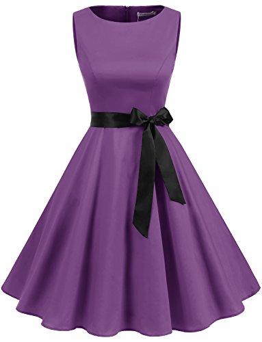 Vestidos Purple Retro Up Mujer Fiesta Pin Gardenwed Sin Mangas Cóctel CzHqggwf