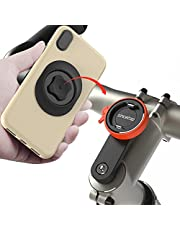 Bike Phone Mount for Mountain Bicycle, Universal Aluminum Road Bike Stem Cap Cell Phone Holder, (Connect Quickly) System Riding Clip Stand, MTB Handlebar Holder for iPhone Samsung Google (Orange)