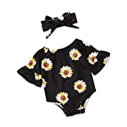 QingFan Baby Girl's Floral Print Ruffles Bodysuit Romper Jumpsuit, Summer Clothes with Bow Headband for Newborn Infant (Black, 12M)