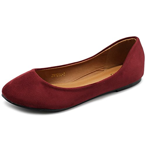 Burgundy Suede Shoes - Ollio Womens Shoe Ballet Light Faux Suede Low Heels Flat ZM1014(9 B(M) US, Burgundy)