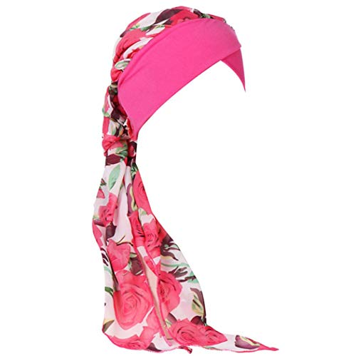 Price comparison product image Women Floral Muslim Stretch Turban Hat Hair Loss Multifunctional Head Scarf (Hot Pink)
