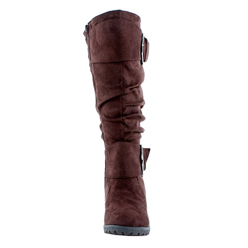 Top Womens Pure Wedge Slouch Boots Moda Buckle Brown 2 rw6OrxT