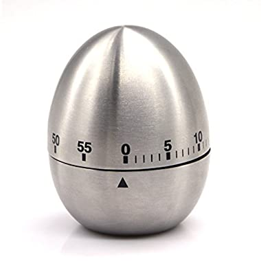 eBerry® Stainless Steel Egg Shape Kitchen Timer Mechanical Drive Count-down Kitchen Timer, 60-Minute Practical Kitchen Timer-Silver Cooking Timer Loud Alarm Timer (Silver)