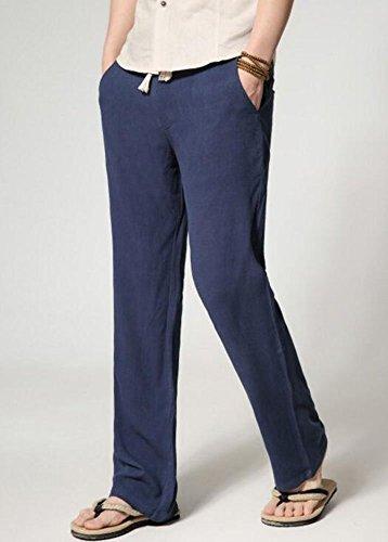 Ragazzi Estate E Bermuda Marineblau Solidi Uomo Lunghi Abbigliamento 3 Festivo Lino Di Casual Pantaloni Colori Larghi qpptz