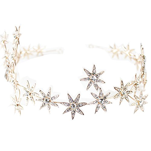 Wiipu Romantic Star Crystal Rhinestone Tiara Bridal Hair Accessories (A1717) (rose gold) ()