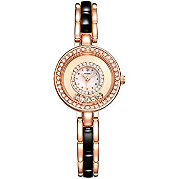 Sheli Small Quartz Watches for Women Bracelet Dress Water Resistant Ceramic Rose Gold and Black