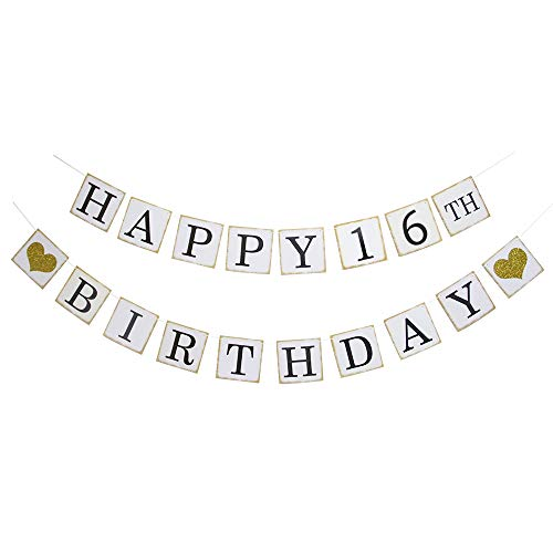 (Happy 16th Birthday Banner - Gold Glitter Heart for Sweet 16 Years Birthday Party Decoration Bunting)