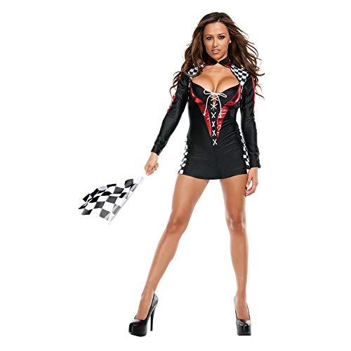 Xingsiyue Womens Long Sleeved Racer Checkered Cheer Girls Dress Uniform Costume]()