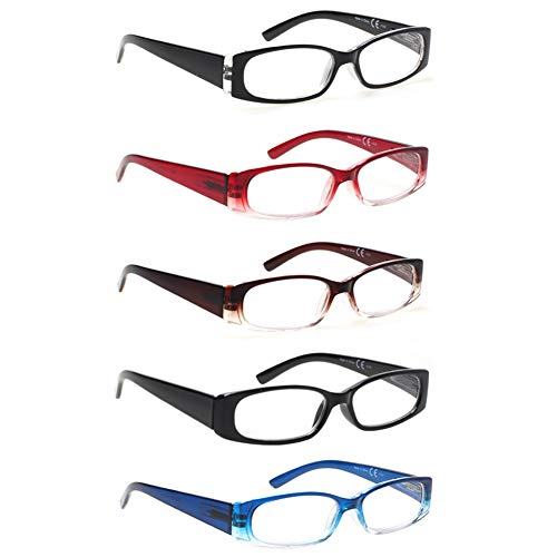 5 Pack Spring Hinge Reading Glasses Rectangular Fashion Quality Readers for Men and Women