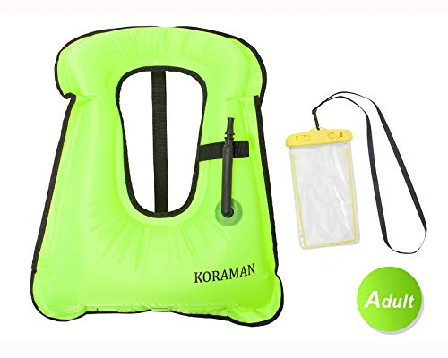 (KORAMAN Fast Inflatable Snorkel Vest Compact for Swimming Free Diving Safety-Life Jacket for Adult Child + Waterproof Phone Pouch Green Adult)