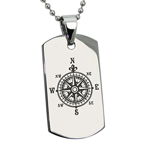 Tioneer Stainless Steel Nautical Fleur de Lis Compass Engraved Dog Tag Pendant Necklace ()