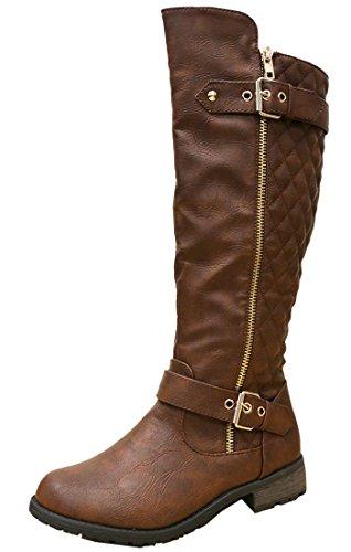 Brown Quilted Womens Select Side Zip Cambridge Knee Flat High Boots Riding E7vqwAACxR