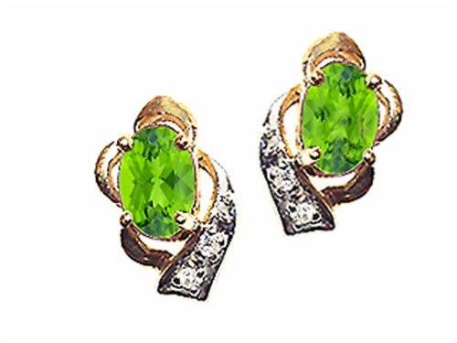 Tommaso Design Oval 6x4 mm Genuine Peridot Earrings 14 kt Yellow (14k 6x4mm Oval Peridot Earring)