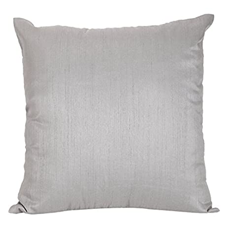 Amazon Set of 2 Silver Grey Art Silk Pillow Covers Plain