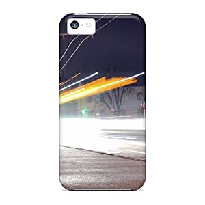 New Fashion Premium Tpu Case Cover For Iphone 5c - Long Exposure Of A Street At Night