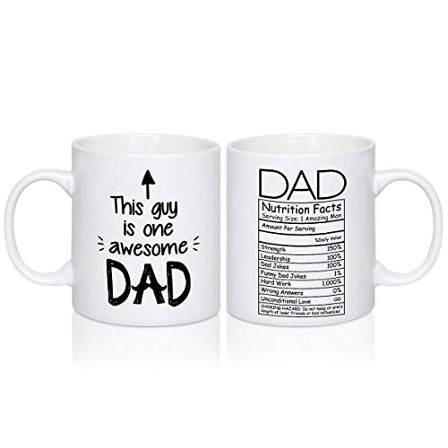 Fathers Mug Gifts for Dad - 12.5oz Daddy Mug - Double Sides Printed Funny Unique Gift Idea Coffee Tea Cup White for Husband, Dad, from Wife, Daughter, Son