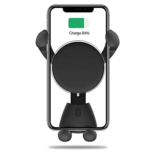 (AAJO Car Mount Wireless Charger, Adjustable Gravity Air Vent Mount for Car Compatible with Phone X/8/8Plus/7/7Plus/6s/6P/5S, Galaxy S5/S6/S7/S8, Google, Huawei etc (Black))