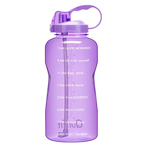 QuiFit Gallon Sport Water Bottle with Drinking Straw and Motivational Time Marker BPA Free Reusable 64/128 oz Large Capacity Ensure Your Daily Water Intake(Purple 64oz)