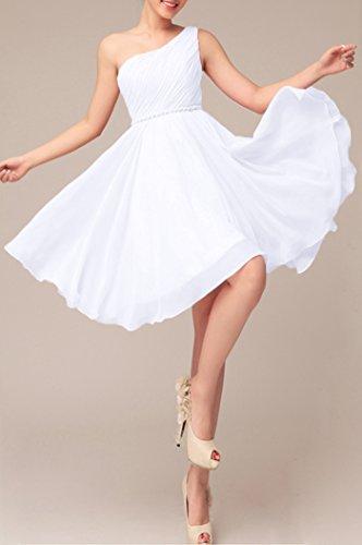 For Formal Dress Bridesmaid Prom White Shoulder Dresses Dresses 99Gown One Short Women Cocktail xXT5n5q0