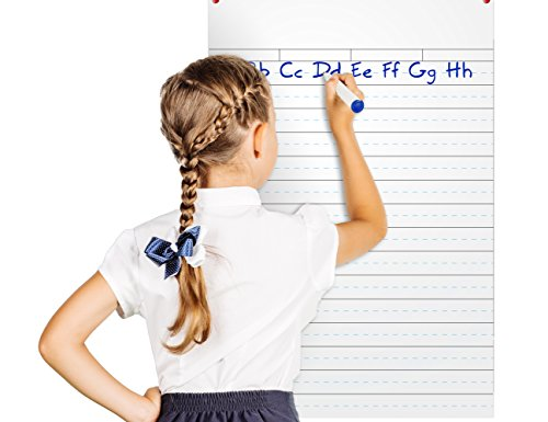 Dry Erase Board with Lines - Dry Erase Handwriting Whiteboard Poster 3 x 2 feet - Ruled White Board for Kids - Classroom and Homeschool Supplies